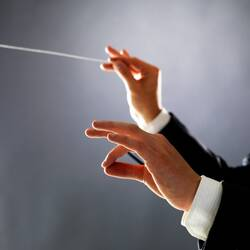 Une photo d'un homme en costume, dont on voit les deux mains prête à diriger un orchestre. Il tient une baguette dans la main droite.